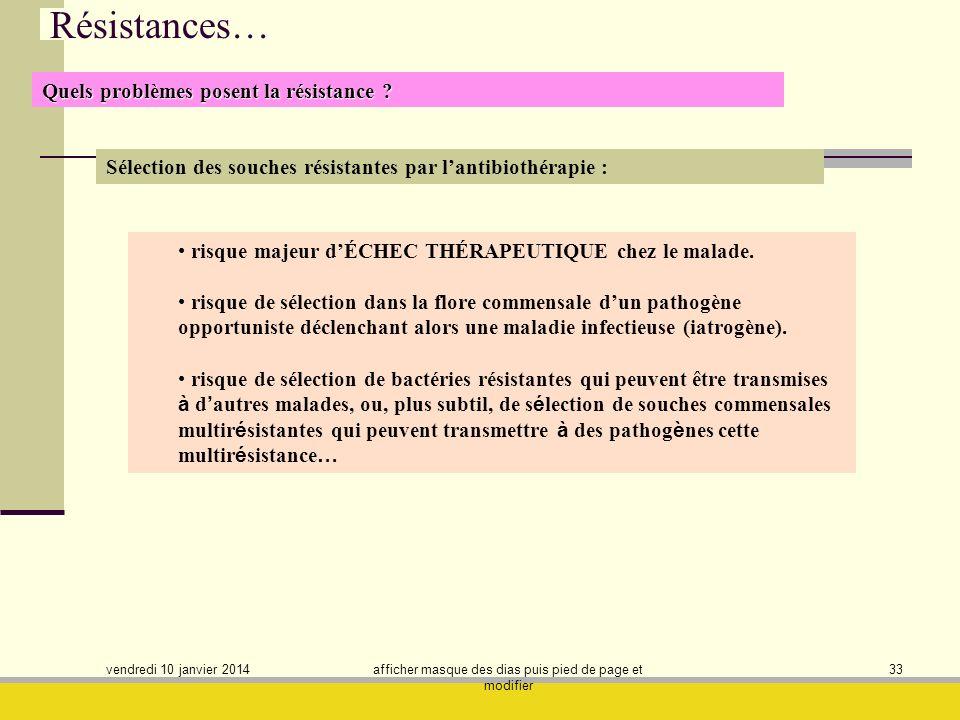 vendredi 10 janvier 2014 afficher masque des dias puis pied de page et modifier 33 Résistances… Sélection des souches résistantes par lantibiothérapie