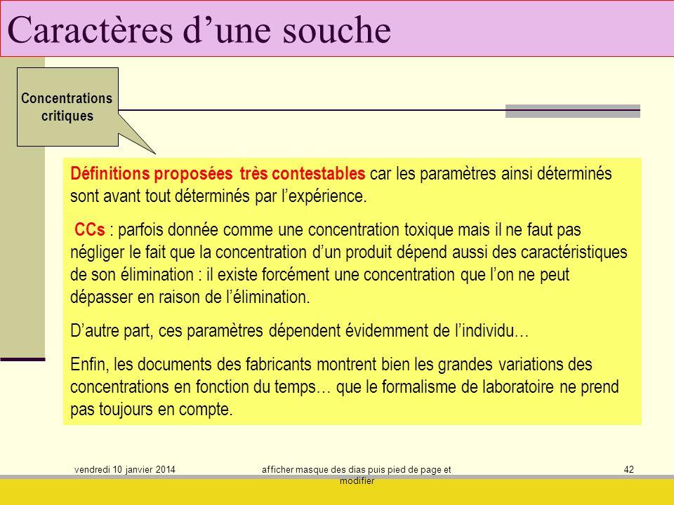 vendredi 10 janvier 2014 afficher masque des dias puis pied de page et modifier 42 Caractères dune souche Concentrations critiques Définitions proposé