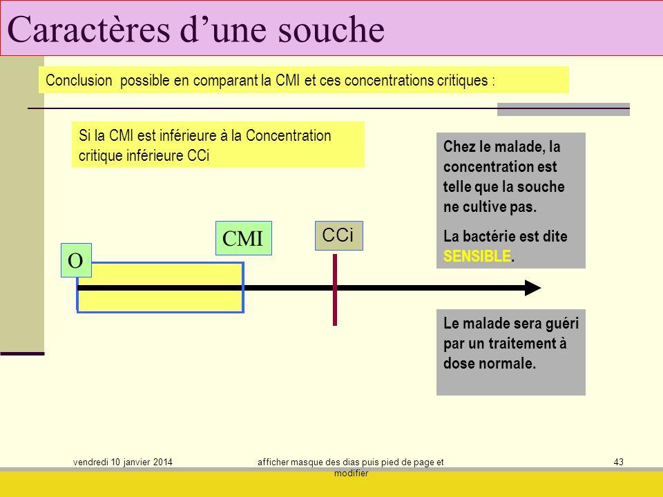 vendredi 10 janvier 2014 afficher masque des dias puis pied de page et modifier 43 Caractères dune souche Conclusion possible en comparant la CMI et c