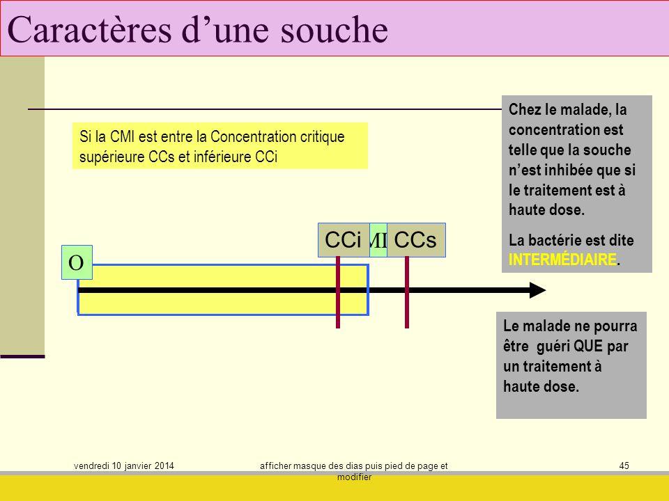 vendredi 10 janvier 2014 afficher masque des dias puis pied de page et modifier 45 Caractères dune souche Si la CMI est entre la Concentration critiqu