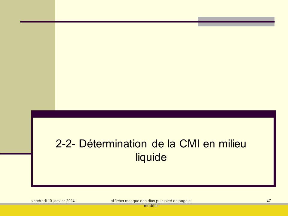 vendredi 10 janvier 2014 afficher masque des dias puis pied de page et modifier 47 2-2- Détermination de la CMI en milieu liquide