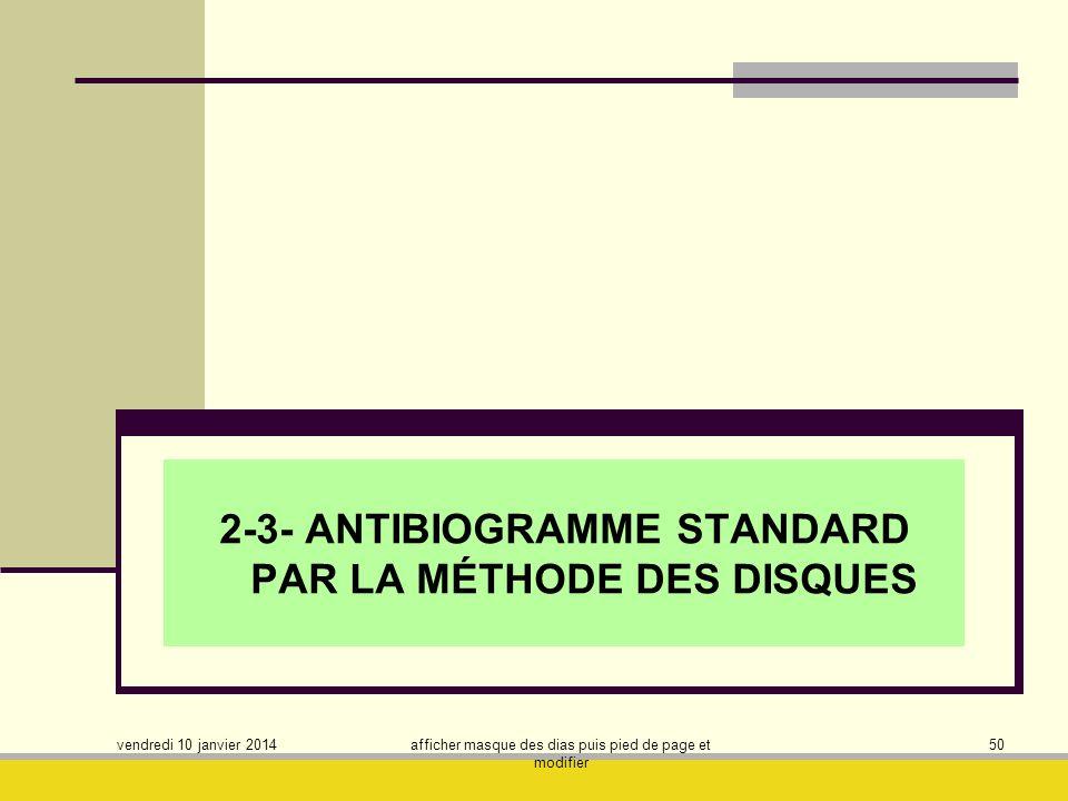 vendredi 10 janvier 2014 afficher masque des dias puis pied de page et modifier 50 2-3- ANTIBIOGRAMME STANDARD PAR LA MÉTHODE DES DISQUES
