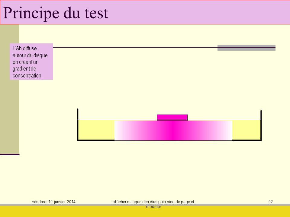 vendredi 10 janvier 2014 afficher masque des dias puis pied de page et modifier 52 Principe du test LAb diffuse autour du disque en créant un gradient