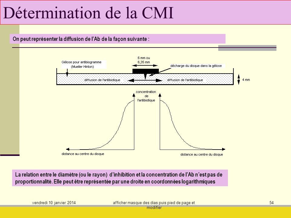 vendredi 10 janvier 2014 afficher masque des dias puis pied de page et modifier 54 Détermination de la CMI On peut représenter la diffusion de lAb de