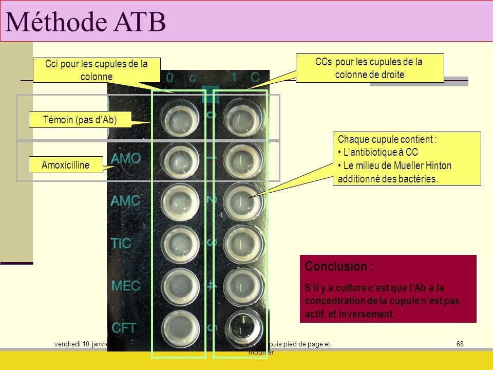 vendredi 10 janvier 2014 afficher masque des dias puis pied de page et modifier 68 Méthode ATB Conclusion : Sil y a culture cest que lAb à la concentr