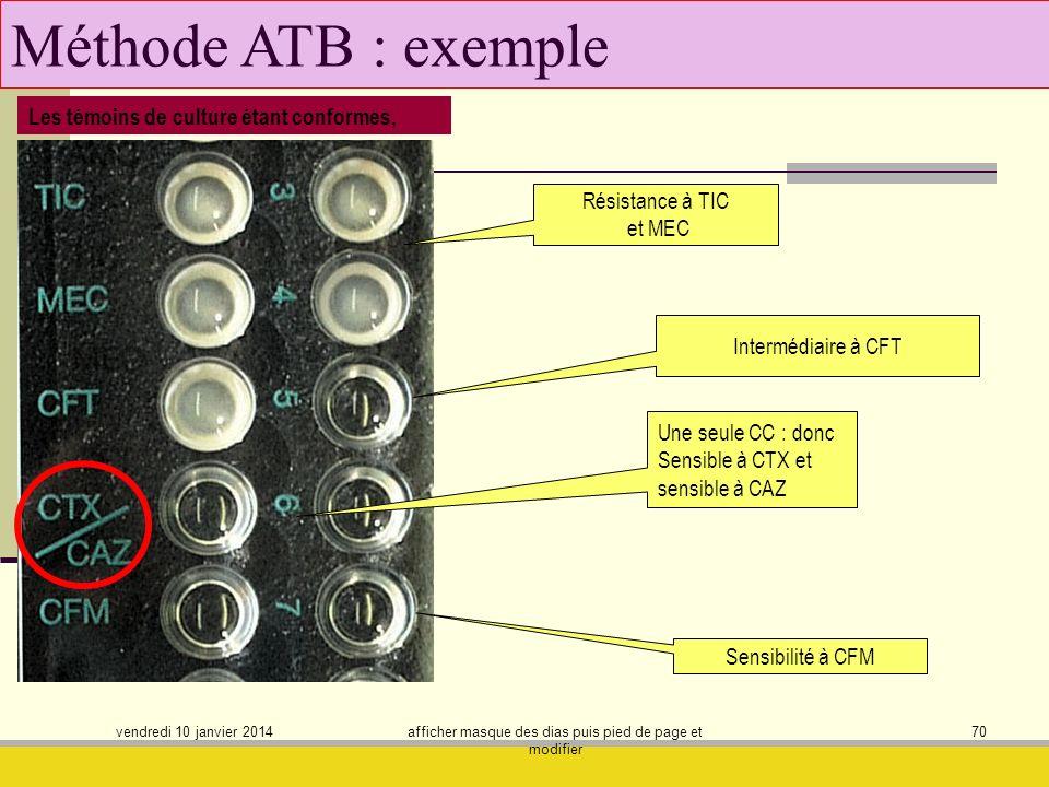 vendredi 10 janvier 2014 afficher masque des dias puis pied de page et modifier 70 Méthode ATB : exemple Résistance à TIC et MEC Sensibilité à CFM Int