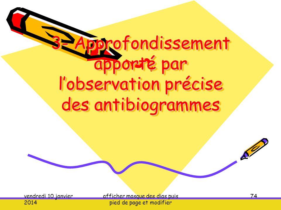3- Approfondissement apporté par lobservation précise des antibiogrammes vendredi 10 janvier 2014 afficher masque des dias puis pied de page et modifi