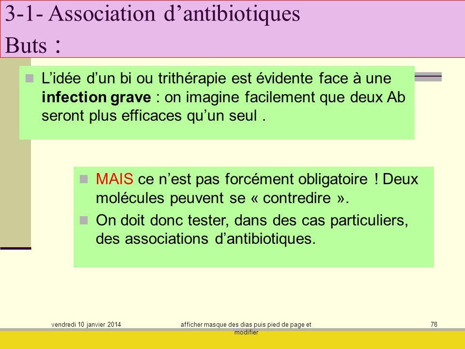 vendredi 10 janvier 2014 afficher masque des dias puis pied de page et modifier 78 3-1- Association dantibiotiques Buts : Lidée dun bi ou trithérapie
