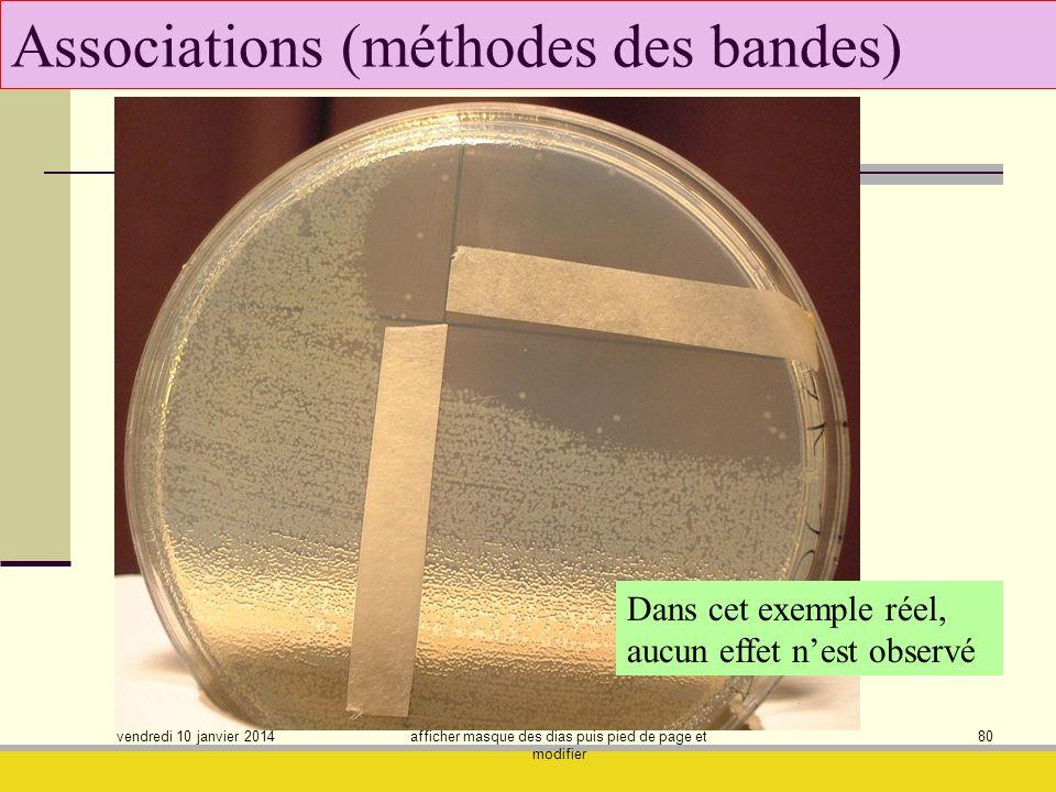 vendredi 10 janvier 2014 afficher masque des dias puis pied de page et modifier 80 Associations (méthodes des bandes) Dans cet exemple réel, aucun eff