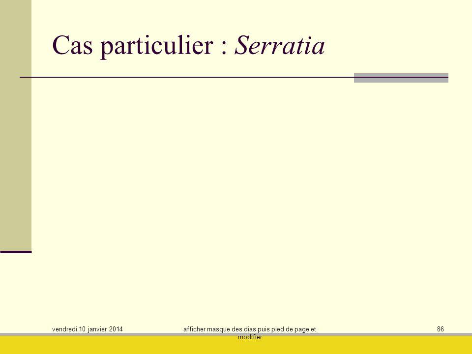 vendredi 10 janvier 2014 afficher masque des dias puis pied de page et modifier 86 Cas particulier : Serratia