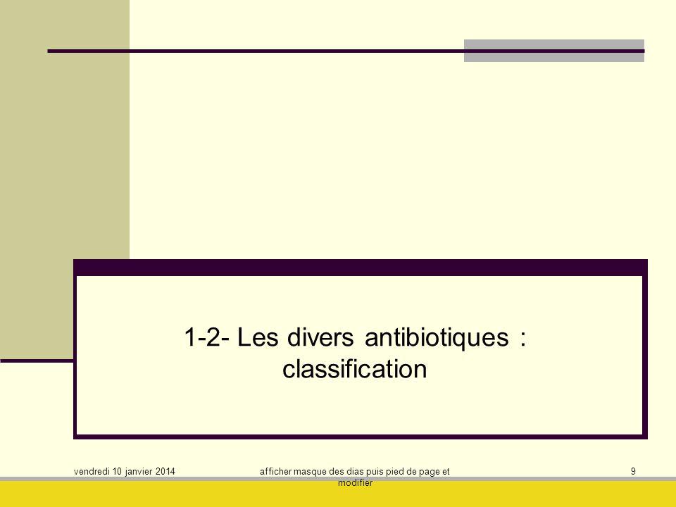 vendredi 10 janvier 2014 afficher masque des dias puis pied de page et modifier 10 Critères de classification utilisés : - Origine - Nature chimique - Mécanisme daction - Spectre daction