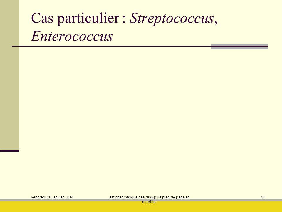 vendredi 10 janvier 2014 afficher masque des dias puis pied de page et modifier 92 Cas particulier : Streptococcus, Enterococcus