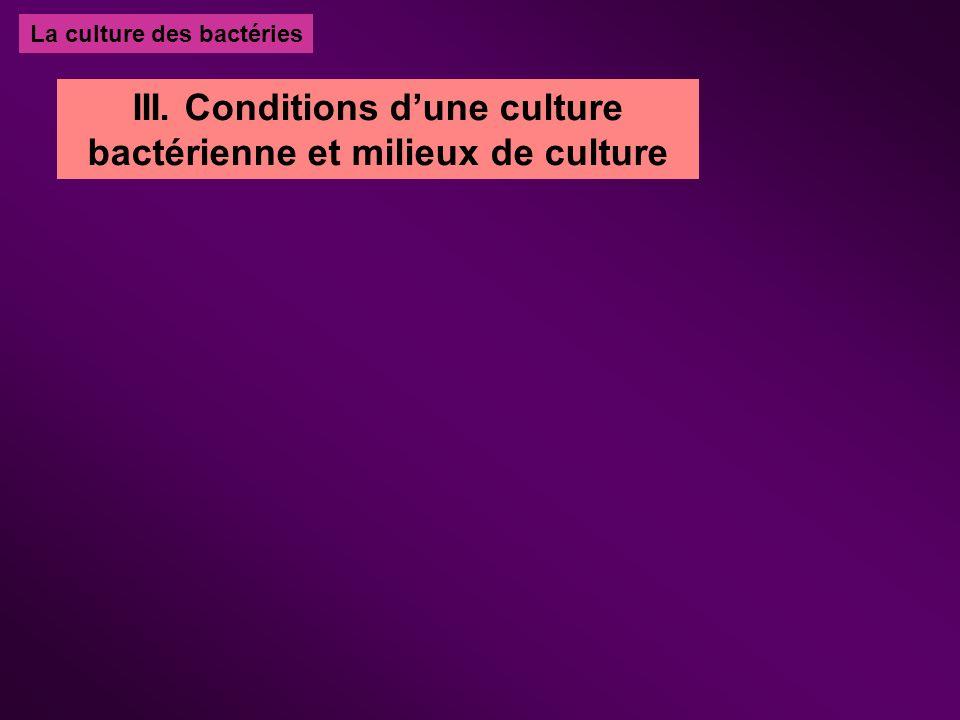La culture des bactéries III. Conditions dune culture bactérienne et milieux de culture