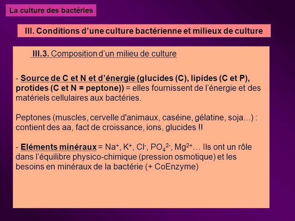 La culture des bactéries III.3. Composition dun milieu de culture - Source de C et N et dénergie (glucides (C), lipides (C et P), protides (C et N = p