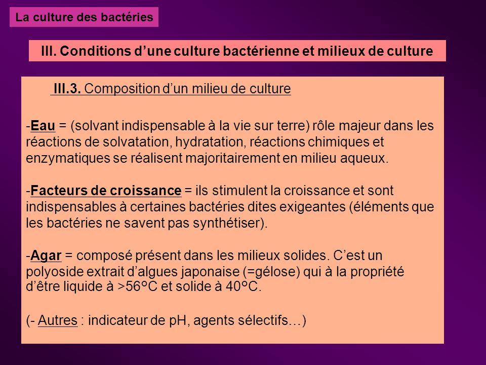 La culture des bactéries III.3. Composition dun milieu de culture -Eau = (solvant indispensable à la vie sur terre) rôle majeur dans les réactions de