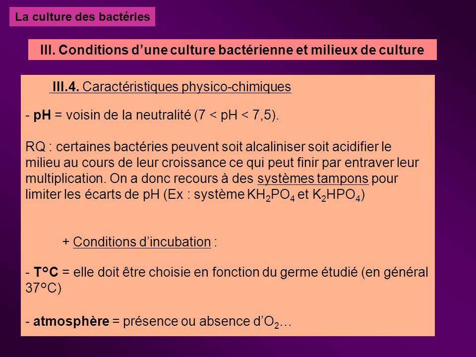 La culture des bactéries III.4. Caractéristiques physico-chimiques - pH = voisin de la neutralité (7 < pH < 7,5). RQ : certaines bactéries peuvent soi