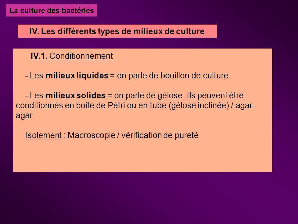 La culture des bactéries IV.1. Conditionnement - Les milieux liquides = on parle de bouillon de culture. - Les milieux solides = on parle de gélose. I