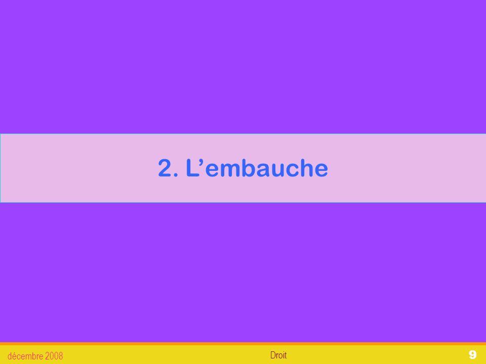Droit décembre 2008 20 2.Lembauche 2.2.6.