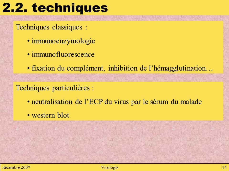 décembre 2007Virologie15 2.2. techniques Techniques classiques : immunoenzymologie immunofluorescence fixation du complément, inhibition de lhémagglut