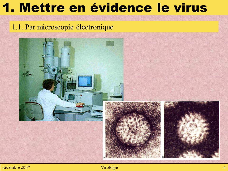 décembre 2007Virologie4 1. Mettre en évidence le virus 1.1. Par microscopie électronique