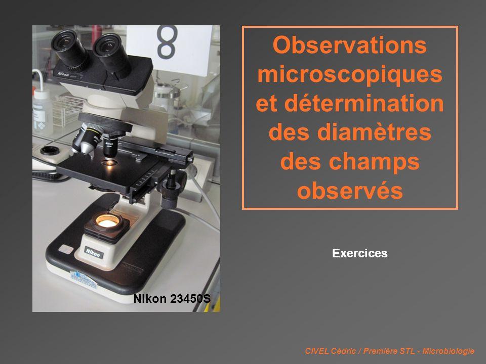 Observations microscopiques et détermination des diamètres des champs observés CIVEL Cédric / Première STL - Microbiologie Nikon 23450S Exercices