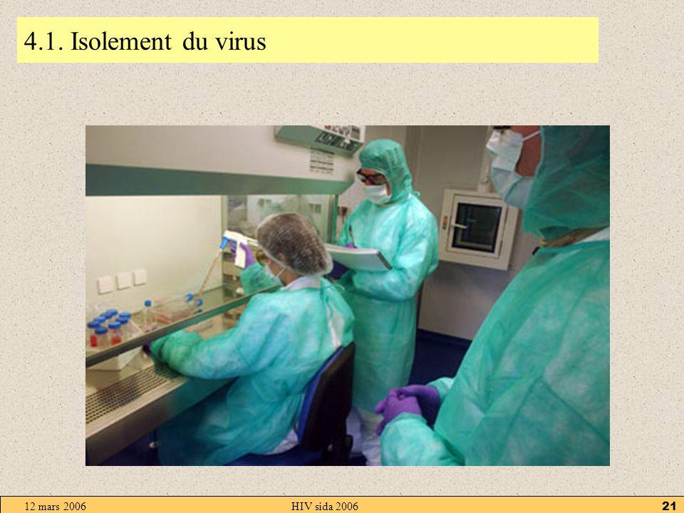 12 mars 2006HIV sida 200620 4. Diagnostic Le diagnostic du sida concerne deux virus HIV1 et 2. Les techniques sont : la recherche des anticorps la rec