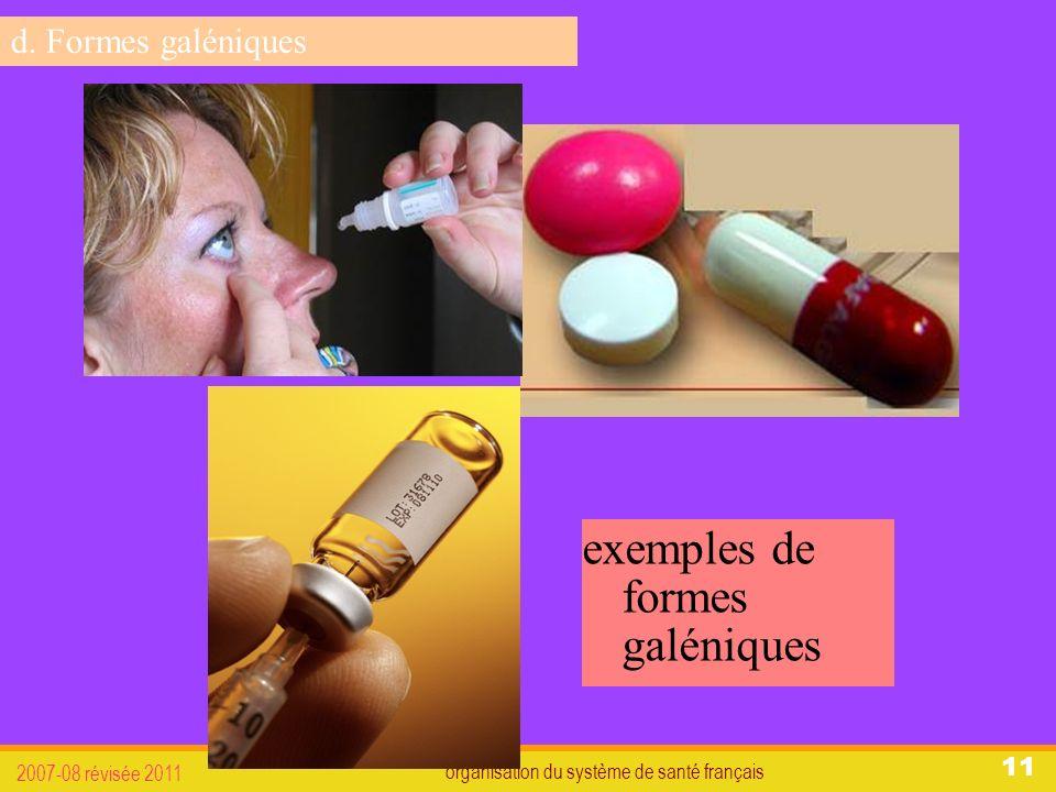 organisation du système de santé français 2007-08 révisée 2011 11 exemples de formes galéniques d.