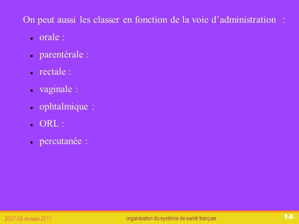 organisation du système de santé français 2007-08 révisée 2011 14 On peut aussi les classer en fonction de la voie dadministration : orale : parentérale : rectale : vaginale : ophtalmique : ORL : percutanée :