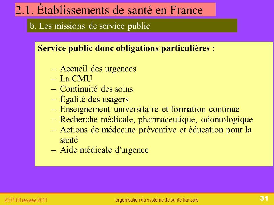 organisation du système de santé français 2007-08 révisée 2011 31 2.1.