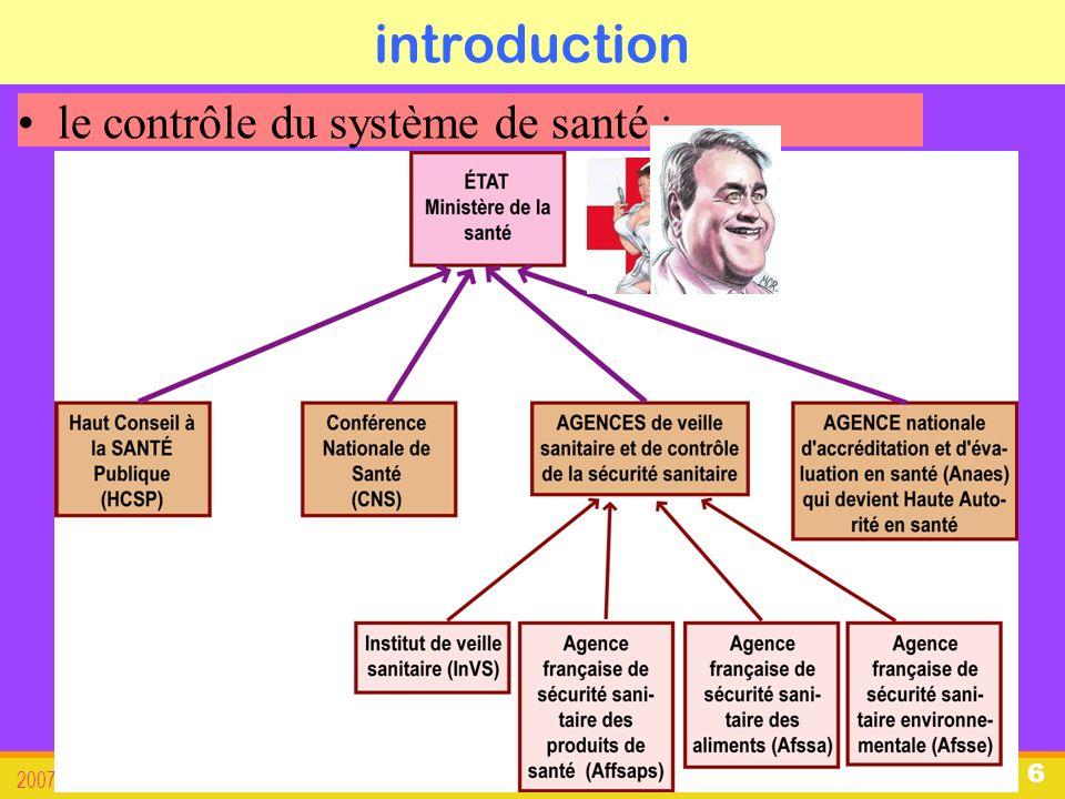 organisation du système de santé français 2007-08 révisée 2011 7 introduction Nous allons aborder : 1.