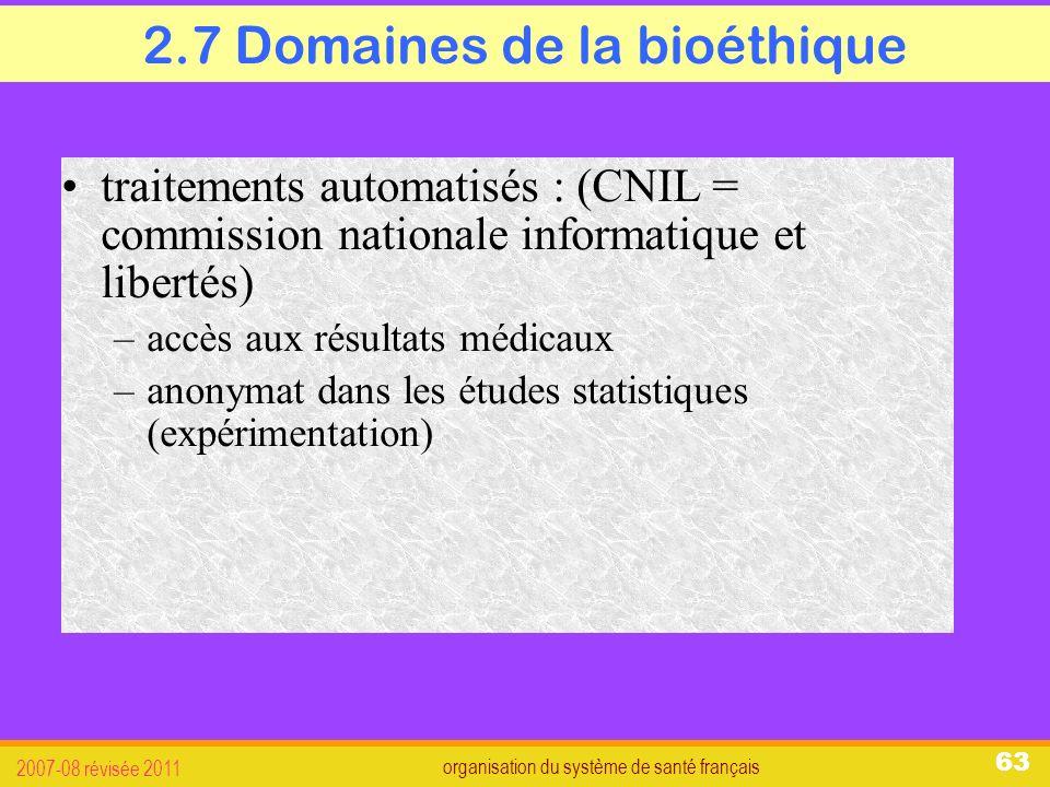 organisation du système de santé français 2007-08 révisée 2011 63 2.7 Domaines de la bioéthique traitements automatisés : (CNIL = commission nationale informatique et libertés) –accès aux résultats médicaux –anonymat dans les études statistiques (expérimentation)