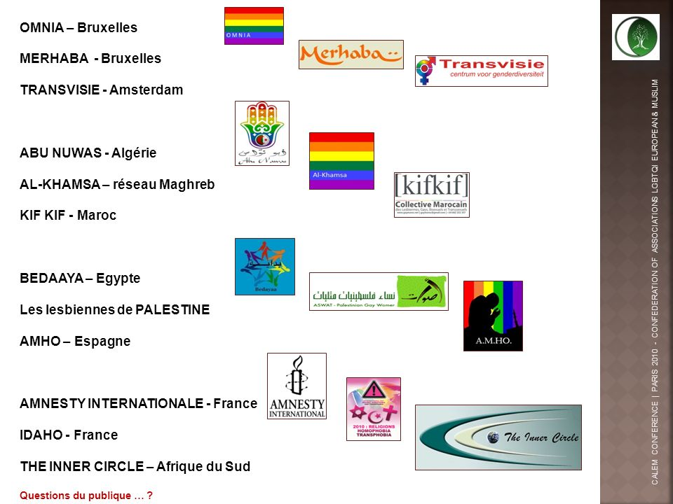 OMNIA – Bruxelles MERHABA - Bruxelles TRANSVISIE - Amsterdam ABU NUWAS - Algérie AL-KHAMSA – réseau Maghreb KIF KIF - Maroc BEDAAYA – Egypte Les lesbiennes de PALESTINE AMHO – Espagne AMNESTY INTERNATIONALE - France IDAHO - France THE INNER CIRCLE – Afrique du Sud Questions du publique … ?