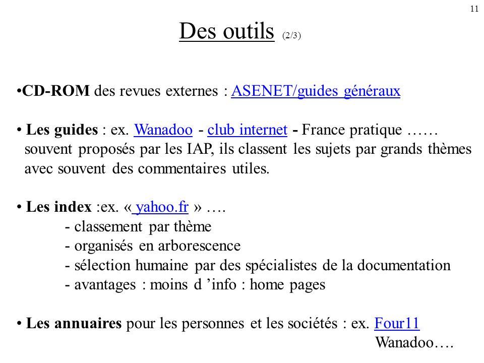 11 Des outils (2/3) CD-ROM des revues externes : ASENET/guides générauxASENET/guides généraux Les guides : ex.