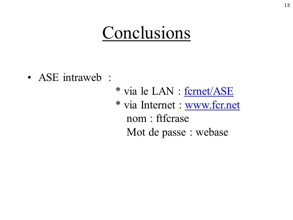 18 Conclusions ASE intraweb : * via le LAN : fcrnet/ASE * via Internet : www.fcr.net nom : ftfcrase Mot de passe : webasefcrnet/ASEwww.fcr.net