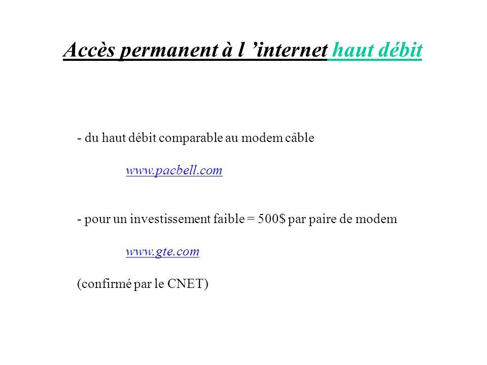 Accès permanent à l internet haut débit - du haut débit comparable au modem câble www.pacbell.com - pour un investissement faible = 500$ par paire de
