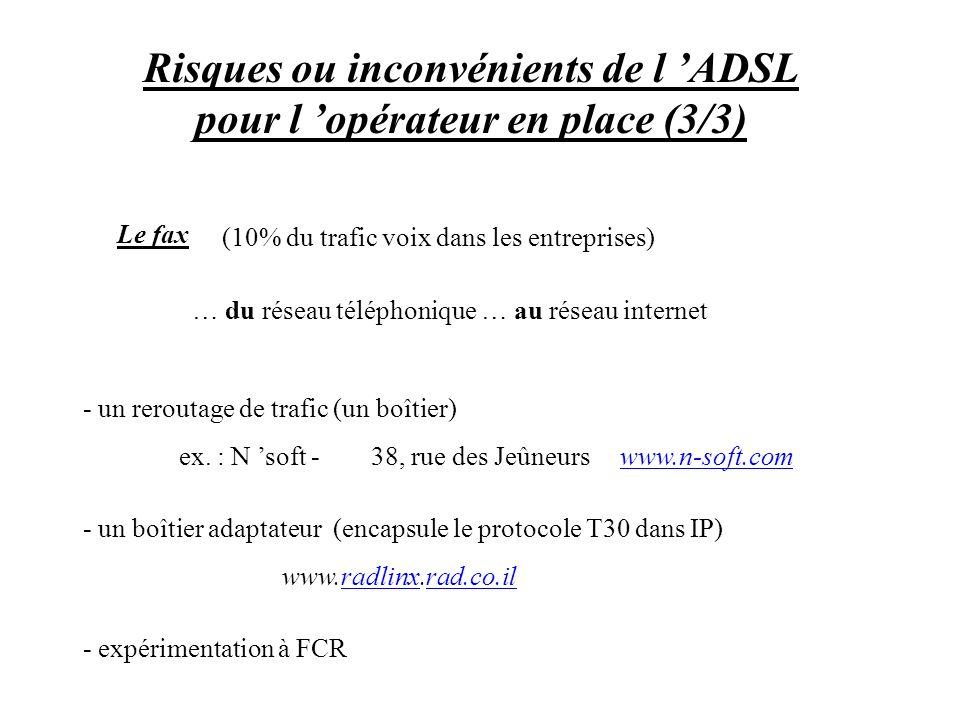 Risques ou inconvénients de l ADSL pour l opérateur en place (3/3) (10% du trafic voix dans les entreprises) … du réseau téléphonique … au réseau inte