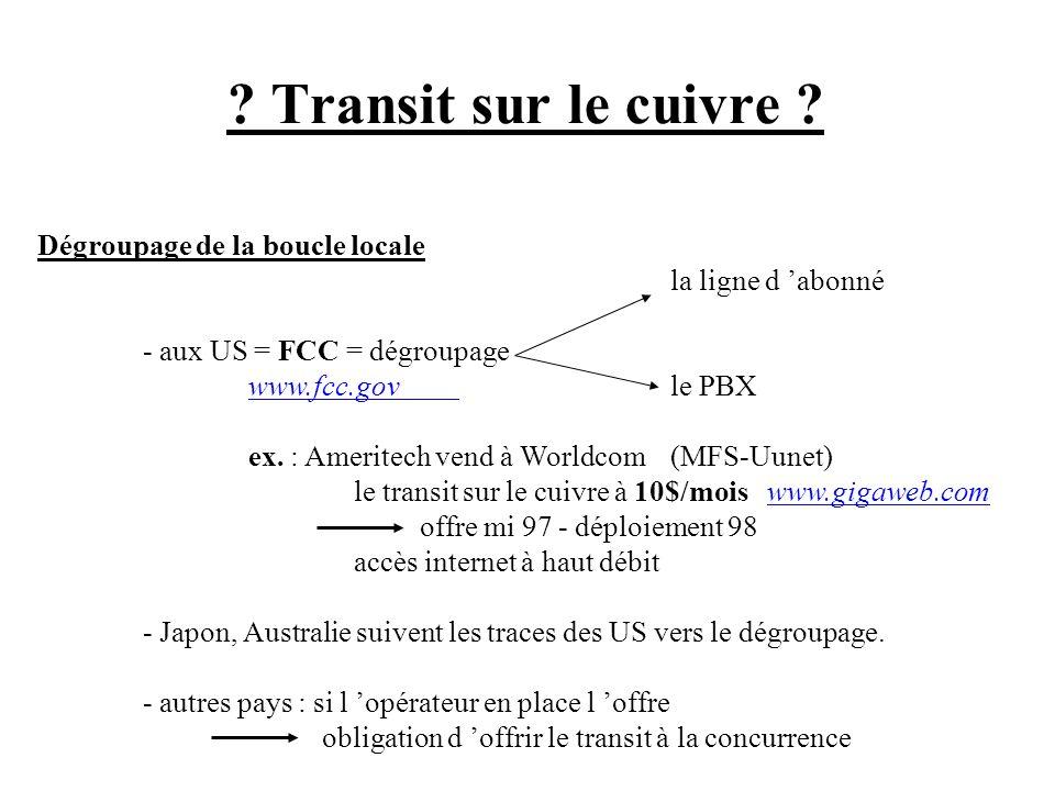 ? Transit sur le cuivre ? Dégroupage de la boucle locale la ligne d abonné - aux US = FCC = dégroupage www.fcc.govwww.fcc.govle PBX ex. : Ameritech ve