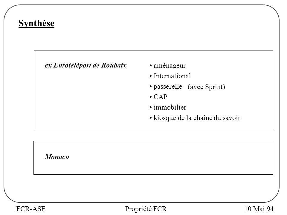 FCR-ASEPropriété FCR10 Mai 94 Synthèse ex Eurotéléport de Roubaix aménageur International passerelle (avec Sprint) CAP immobilier kiosque de la chaîne du savoir Monaco