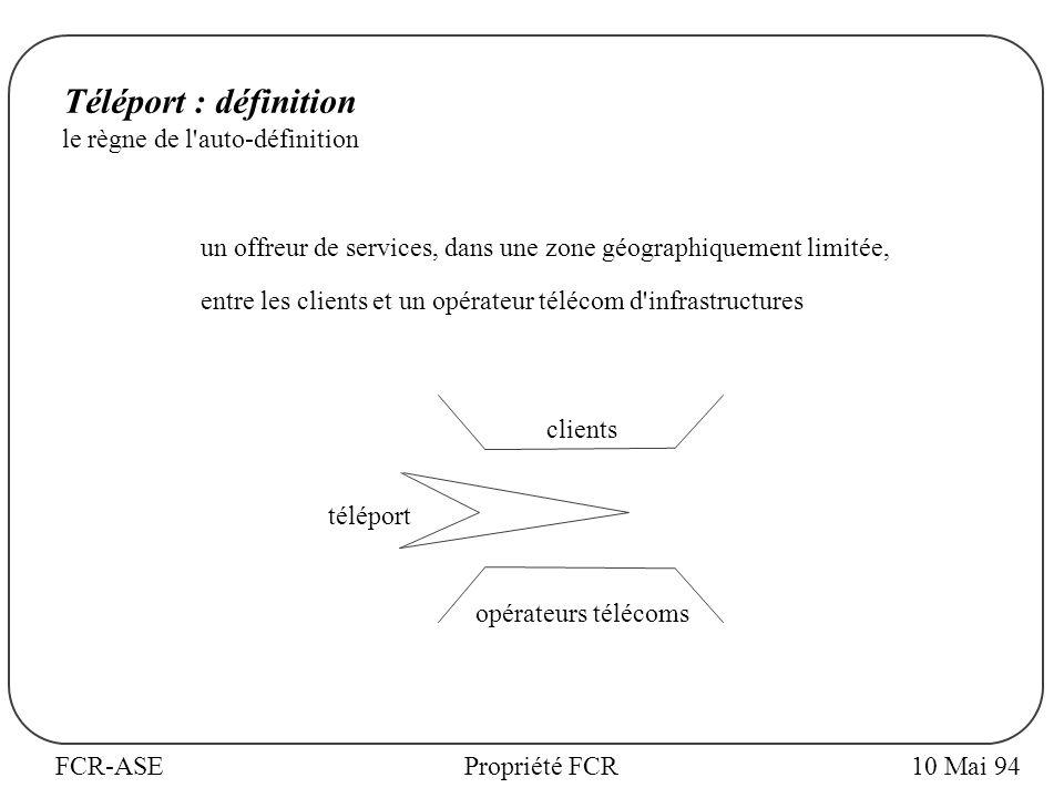 FCR-ASEPropriété FCR10 Mai 94 Téléport : définition le règne de l auto-définition un offreur de services, dans une zone géographiquement limitée, entre les clients et un opérateur télécom d infrastructures clients téléport opérateurs télécoms