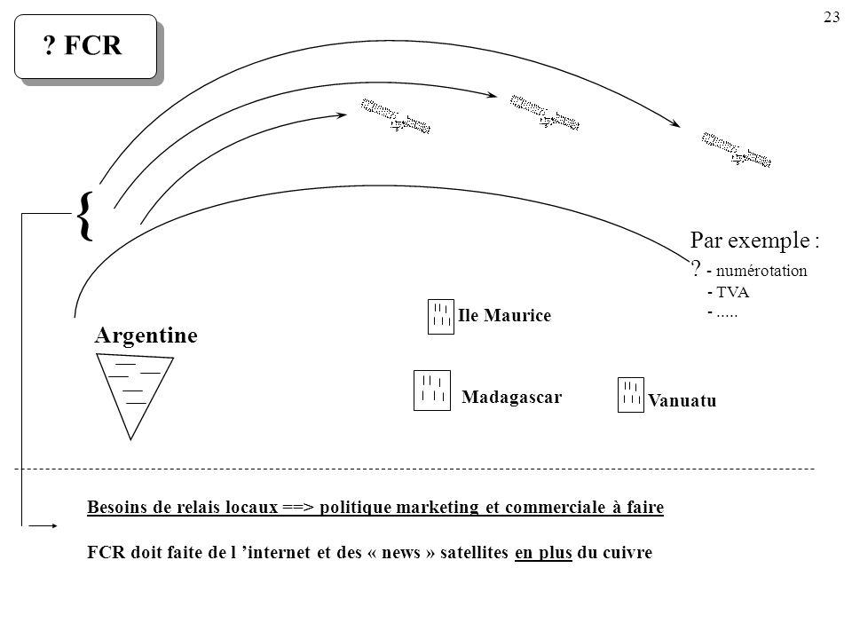 23 Ile Maurice Madagascar Vanuatu Argentine Par exemple : ? - numérotation - TVA -..... ? FCR { Besoins de relais locaux ==> politique marketing et co