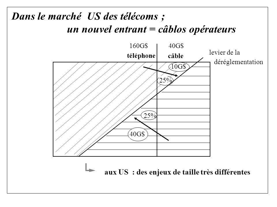 Dans le marché US des télécoms ; un nouvel entrant = câblos opérateurs aux US : des enjeux de taille très différentes 40G$ 25% 160G$40G$ téléphone câble levier de la déréglementation 10G$ 25%