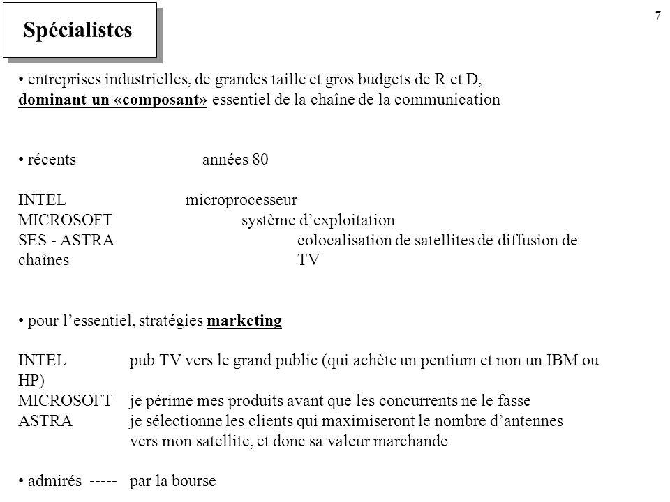 7 Spécialistes entreprises industrielles, de grandes taille et gros budgets de R et D, dominant un «composant» essentiel de la chaîne de la communication récents années 80 INTELmicroprocesseur MICROSOFTsystème dexploitation SES - ASTRAcolocalisation de satellites de diffusion de chaînes TV pour lessentiel, stratégies marketing INTELpub TV vers le grand public (qui achète un pentium et non un IBM ou HP) MICROSOFTje périme mes produits avant que les concurrents ne le fasse ASTRAje sélectionne les clients qui maximiseront le nombre dantennes vers mon satellite, et donc sa valeur marchande admirés -----par la bourse