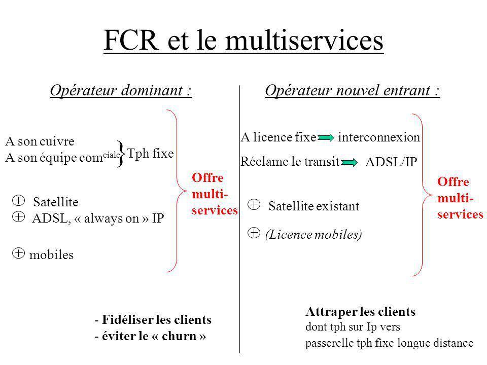 FCR et le multiservices Opérateur dominant :Opérateur nouvel entrant : A son cuivre A son équipe com ciale } Tph fixe Satellite ADSL, « always on » IP