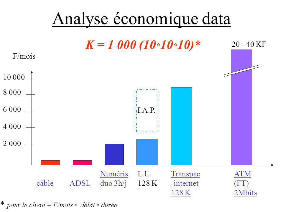 Analyse économique data 2 000 4 000 6 000 8 000 10 000 F/mois câbleADSL Numéris duo 3h/j L.L. 128 K Transpac -internet 128 K I.A.P. K = 1 000 (10 * 10
