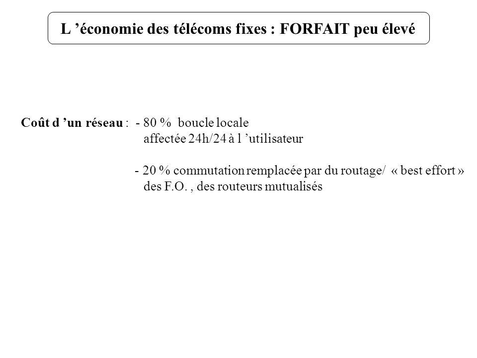 Coût d un réseau : - 80 % boucle locale affectée 24h/24 à l utilisateur - 20 % commutation remplacée par du routage/ « best effort » des F.O., des rou