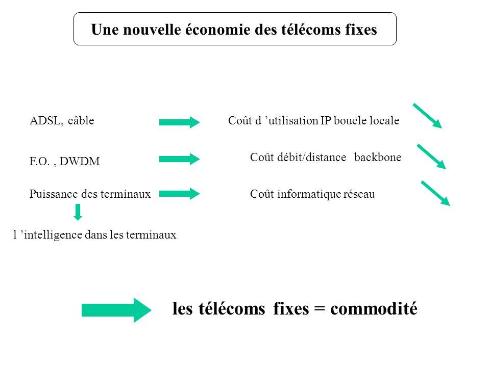 Une nouvelle économie des télécoms fixes les télécoms fixes = commodité ADSL, câbleCoût d utilisation IP boucle locale F.O., DWDM Coût débit/distance