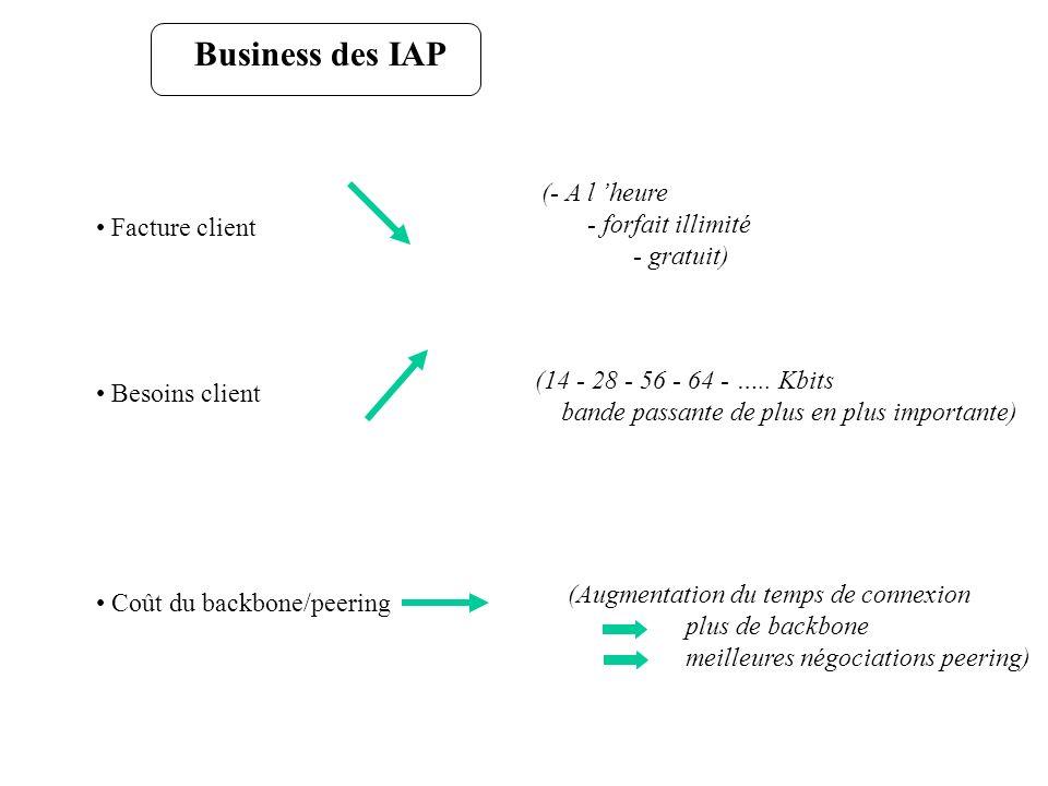Business des IAP Facture client Besoins client Coût du backbone/peering (- A l heure - forfait illimité - gratuit) (14 - 28 - 56 - 64 - ….. Kbits band
