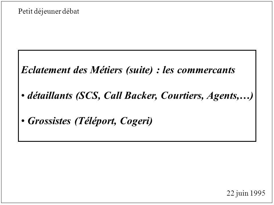 Eclatement des Métiers (suite) : les commercants détaillants (SCS, Call Backer, Courtiers, Agents,…) Grossistes (Téléport, Cogeri) 22 juin 1995 Petit déjeuner débat