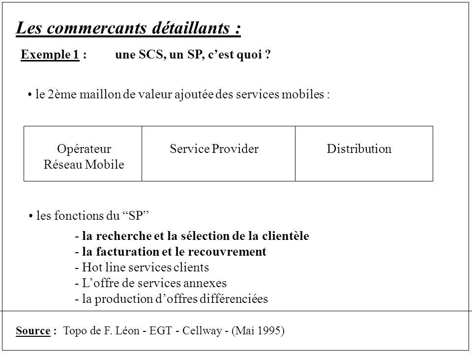 Les commercants détaillants : Exemple 1 :une SCS, un SP, cest quoi .