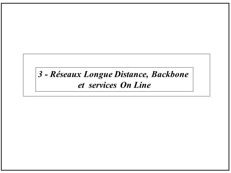 3 - Réseaux Longue Distance, Backbone et services On Line